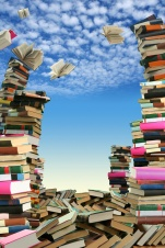 This is books scramble. Many books to scatter under sky.